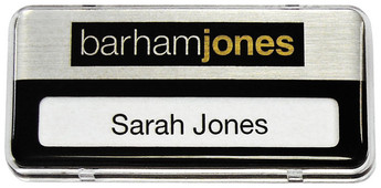 Reusable Name Badges - Clear border and brushed silver / black background | www.namebadgesinternational.us